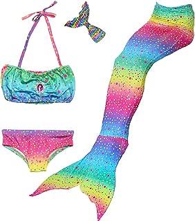 Danvren Girls Swimsuit Mermaid Tails for Swimming Party Supplies Costume Swimwear Bikini 3 Pcs for 3-12Y