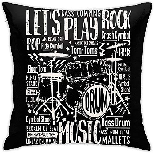 Funda de almohada de algodón con cremallera tamaño estándar cuadrado funda de almohada Music Rock Drums 45,7 x 45,7 cm, funda de cojín cuadrada para oficina en el hogar
