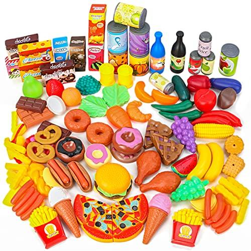 Innedu 139 Piezas Juguetes de Comida, Alimentos Juguetes Plástico de Cocina Variedad de Frutas y Verduras, Juguete Imitación de rol para Niños Niñas más de 3 Años