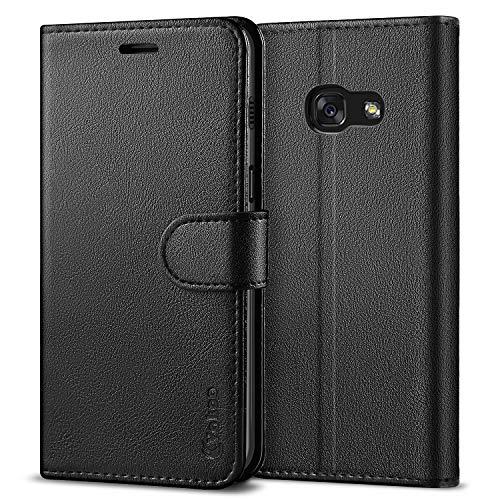 Vakoo Schutzhülle Kompatibel mit Samsung Galaxy A3 2017 Hülle, PU Leder Brieftasche Handyhülle für Samsung Galaxy A3 2017 Tasche - Schwarz