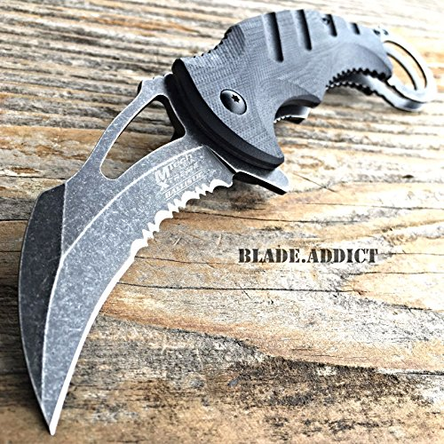 8' KARAMBIT Hawkbill Tactical Claw Spring Assisted Pocket Knife Rescue G10 MTECH