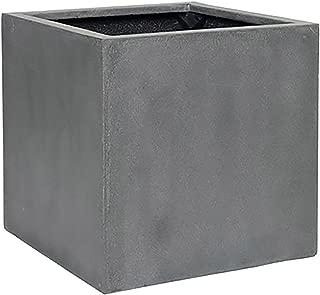 Elegant Fiberstone Cube Planter Grey Pot - Square Planter 16x16x16 - Indoor Outdoor