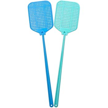 AYA Fly SWATTER 2 Pack Flexible Strong Manual SWAT Set with Long Handle Summer Colors Multi Pack (Blue Green)
