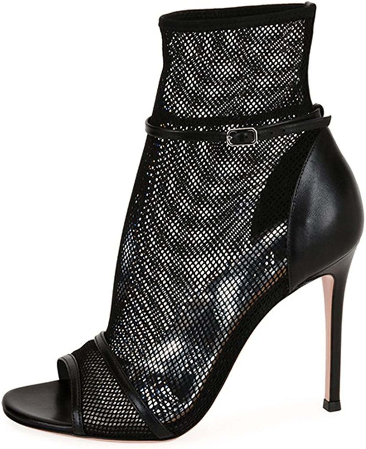 Women's Nude Black Super High Heel Sandals Sexy Mesh Ankle Boots Openwork shoes Ankle Strap(Heel Height  11-13cm)