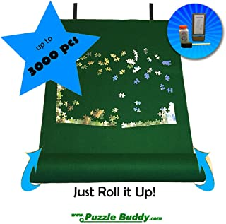 "Puzzle Buddy: Jigsaw Puzzle Roll Up Felt Mat | Securely Store, Transport Unfinished Puzzles, (Includes Box Stand and Glue Kit), Perfect for Grandparents, Grandkids and Puzzle Enthusiasts | Made In the USA - Storage Kit For Puzzles Up To 3000 Pieces, 54"" x 35"""