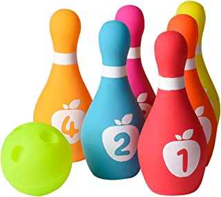 Playkidz Soft Baby Bowling Set 7-Piece Soft Bowling Game for Boys & Girls w/Colorful Numbered Pins & Ball Safe, Great Toy for Indoor or Outdoor Birthday, Toddler & More Ages 18M+