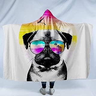 JUNZYGH Hooded Blanket 3D,Colorful Sunglasses Dog Animal,Men Women Printing Plush Fleece Wearable Hood Blankets Warming Sherpa Wrap Throw for Winter/Autumn/Spring Lightweight,150X130Cm/60(W) X52(H)