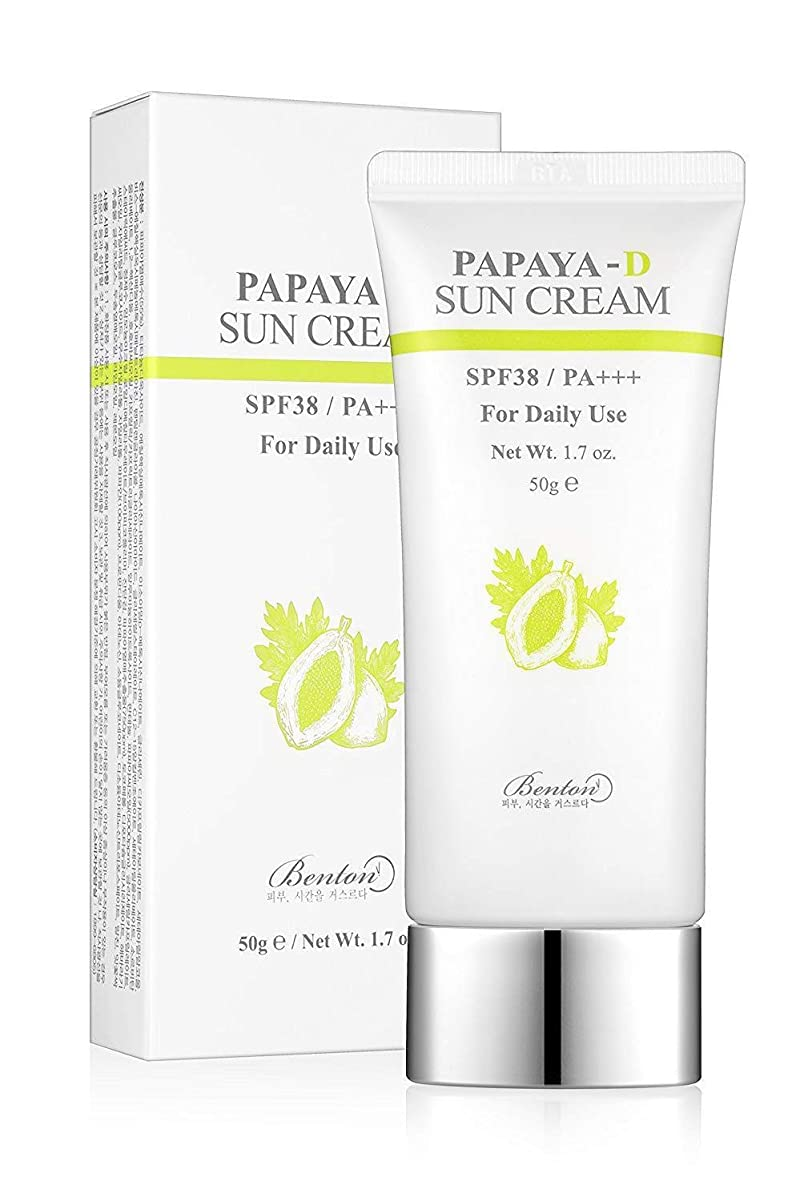 視力上げる生活BENTON ベントン Papaya-D sun cream サンクリーム (50g) SPF38/PA+++ 韓国 日焼け止め