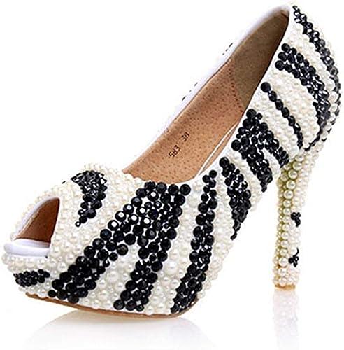 Hhor Les Les dames Sequin Perlé Peep Toe Plate-Forme Blanc Noir Sandales De Mariée Mariage De Mariée UK 2.5 (Couleuré   -, Taille   -)