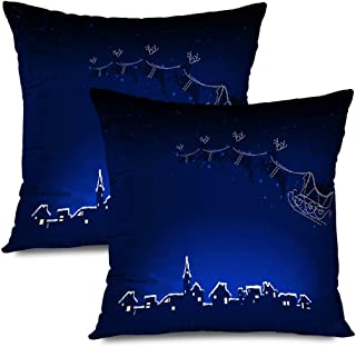 Ahawoso Set of 2 Throw Pillow Covers Square 18x18 December Abstract Noelle Town Cold His Saint Newyears Reindeer Riding Sleigh Claus Year Holidays Zippered Pillowcases Home Decor Cushion Cases