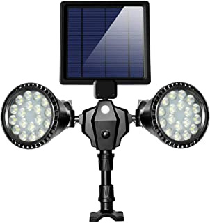 XTF2015 Outdoor Solar Spotlight, Upgraded 36 LED 1000LM Double Head Solar Motion Sensor Light Waterproof Solar Powered Security Light for Garden Patio Porch Deck Yard Garage Driveway Outside Wall