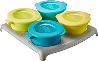 Tommee Tippee Pop Ups Infant Freezer Pots & Tray Assorted Colours Microwave Safe, White, 4M+, 3 Count