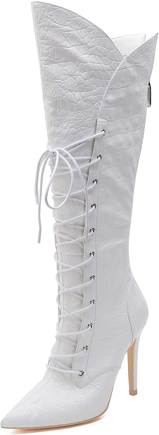 MACKIN J 347-12 Women's Lace Up Knee-high Boots Stiletto Fashon Knee High Boots