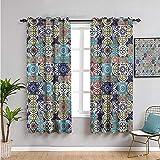 Xlcsomf Cortinas de patchwork para exteriores, 114,3 cm de largo, azulejos antiguos azulejo uso diario 163 cm de ancho x 45 cm de largo