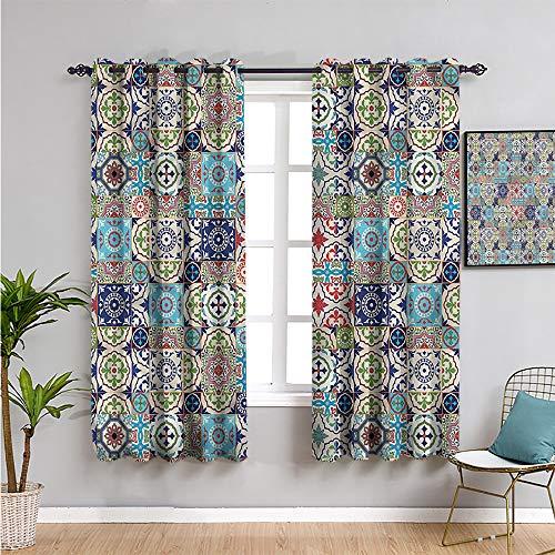 Xlcsomf Cortina de mosaico para ventana, cortinas de 213 cm de largo, azulejos antiguos azulejo cortina de baño de 52 x 84 pulgadas