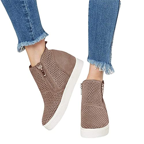 a40b25844536 LAICIGO Women s Platform Sneakers Hidden Wedges Side Zipper Faux Suede  Perforated Ankle Booties