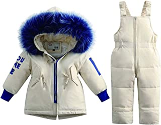 Two-Piece Girl Winter Warm Color Fur Side Down Jacket, Bib Suit Korean Version of The Baby Boy Children's Clothing Snow Suit,White,90