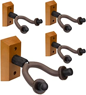 Suwimut 4 Pack Guitar Wall Mount Hanger, Guitar Holders Hook Stand for Electric Acoustic Bass Guitar Ukulele