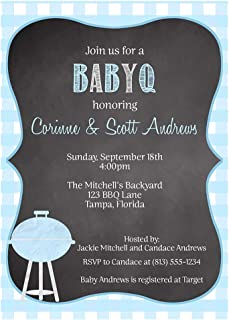 Baby Q Shower Invitations BabyQ Barbecue Boy, Chalkboard Blue Guys and Gals Family Baby Q Picnic Cookout Beer Summer Spring Sprinkle Barbecue BBQ Barbeque It's a Boy (10 Pack)