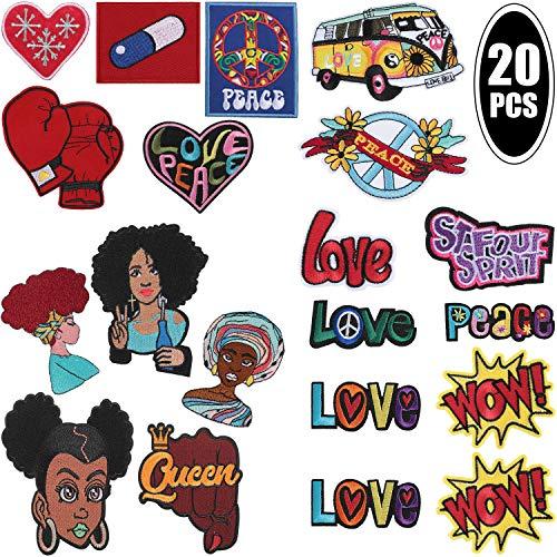 20 Pièces Poing Levé Noir Puissance Fer Brodé sur Patch Appliqué Fille Afro Amour Paix Coeur Repasser sur Patch pour Sacs à Dos, Cartable, Vêtements