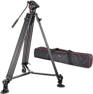VILTROX VX-18M プロ級 三脚 一眼レフカメラ/ビデオカメラ通用 ポータブル 雲台 3段伸縮 360度回転 最大荷重10KG 最大高さ1.88M クイックリリースプレート&キャリングバッグ付き