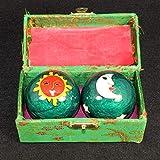 RK-HYTQWR Un par de bolas de salud chinas Baoding Bolas de masaje de bolas de esmalte para terapia de manos Ejercicio y alivio del estrés, Balonmano de fitness Sol y luna verdes, Bola de rebote, Verde