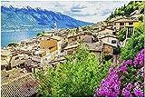 YYTOOF HD Limone - Hermosa Ciudad en Lago di Garda Italia con Flores púrpuras 9002791 (52*38 cm Premium 500 Piece Jigsaw Puzzle Made in USA!)
