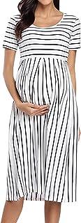 Damen Kurzarm Umstandskleid Schwangerschafts Kleid Streifen Knielang A-Line Umstandsmode
