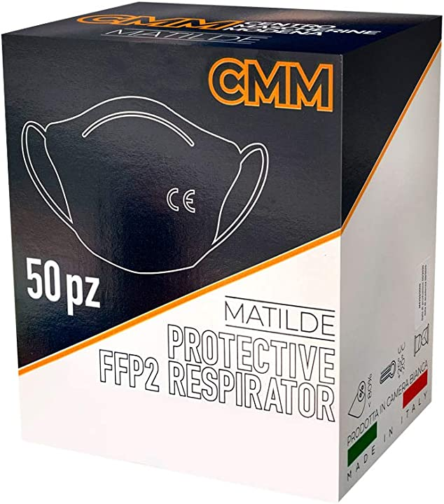 mascherine ffp2 certificate ce 50 pezzi made in italy 100% cmm 12o4i