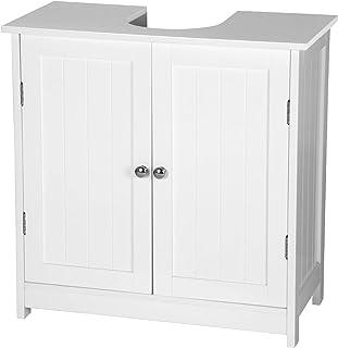 eSituro Mueble Bajo Lavabo Armario de Suelo para Baño Mueble de Baño Organizador 2 Puertas MDF Blanco 60 x 30 x 60 cm SBP...
