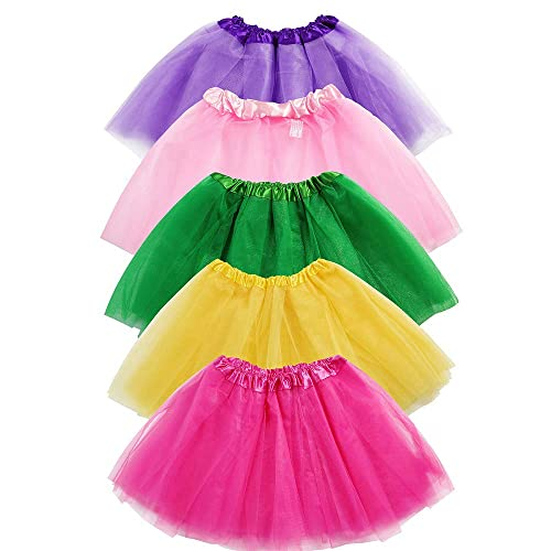 19a5b505c7 Girls Tutu Skirt Set, Sinuo 5-pack 3 Layer Ballet Dance Tutu Dress with
