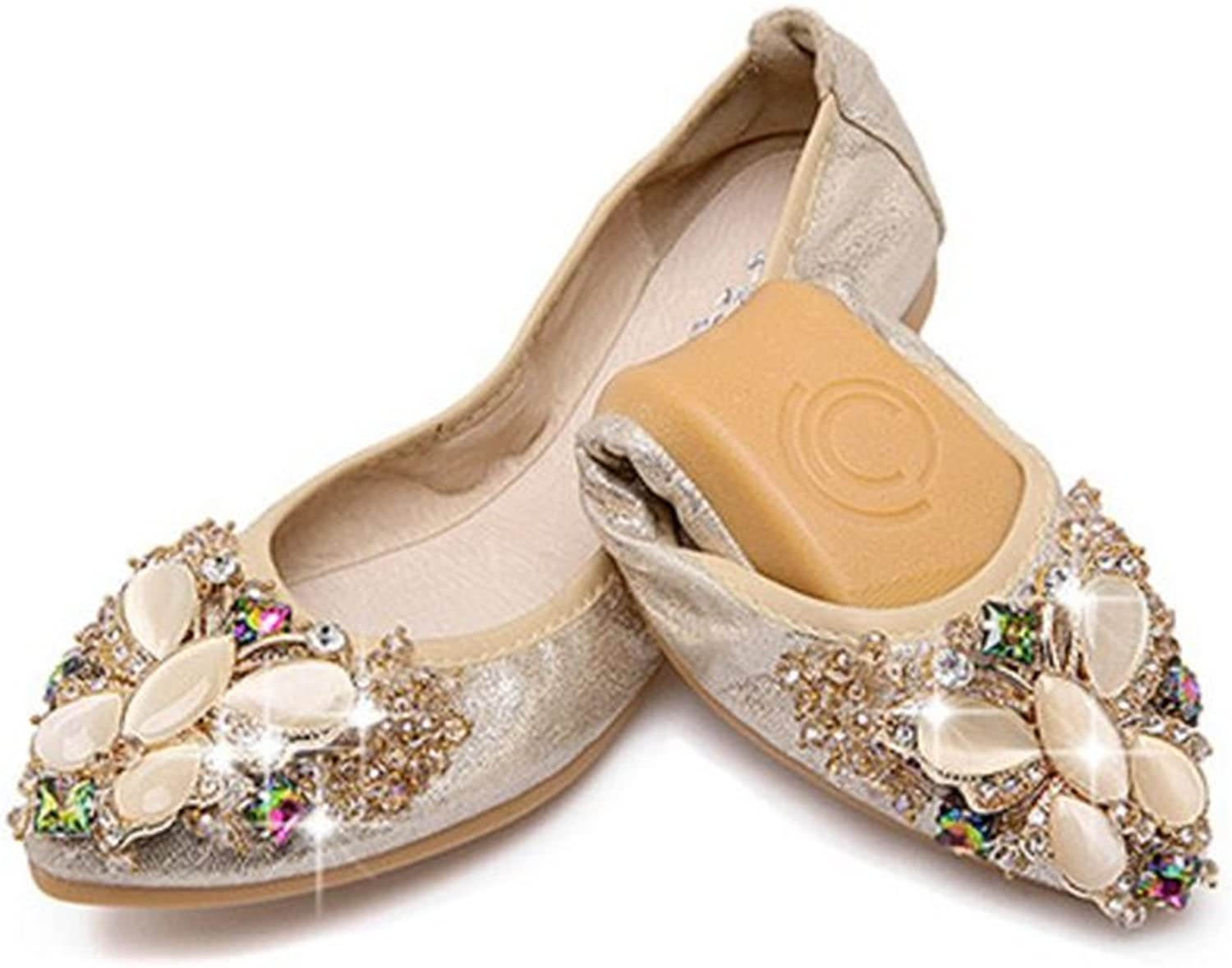 Cloudless Womens Foldable Soft Ballet Flats Rhinestone Comfort Slip On Loafers