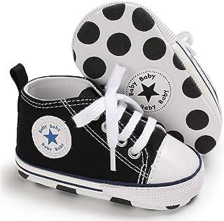 Baby Boys Girls Star High Top Sneaker Soft Anti-Slip Sole Newborn Infant First Walkers Canvas Crib Denim Shoes