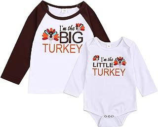 Thanksgiving Sibling Baby Shirts Romper Set Little Turkey & Big Turkey Bodysuit Matching Outfit Set(Little Turkey, 3-6 Months)