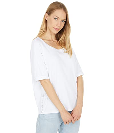 Chaser Vintage Rib Snap Side Rolled Short Sleeve Tee