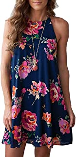 WENOVL Sexy Dresses for Women,Women Sleeveless Halter Neck Boho Print Casual Mini Beachwear Dress Sundress
