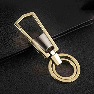 Elegdy Key Ring for Business Car Keychain Pendant Metal Portable Key Chain Loss Prevention Auto Accessories (Color : Gold ...
