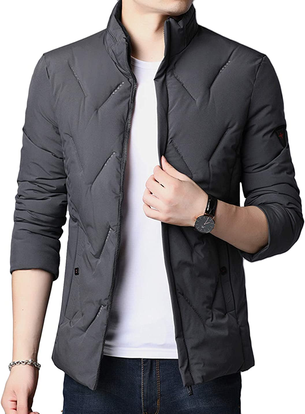 HaoMay Men's Winter Warm Full Zip Cotton-Padded Quilted Outwear Jacket