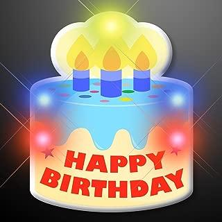 Happy Birthday Cake Light Up Flashing LED Lapel Pins (Set of 5)