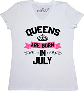 inktastic - Queens are Born in July Women's V-Neck T-Shirt 294d7