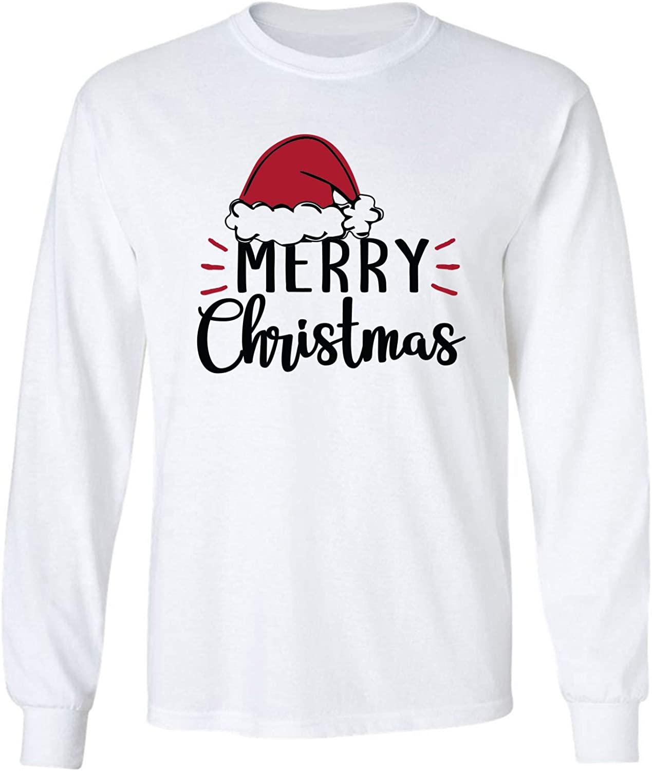 Merry Christmas Hat Adult Long Sleeve T-Shirt in White - XXXX-Large