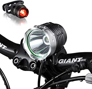 Night Eyes- 1200 Lumens Mountain Bike Headlight Bike LED Light -Rechargeable 8.4V 6400mA ABS Waterproof Battey-Free Aluminum BikeTaillight Bonus -NO Tool Required