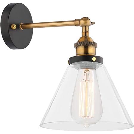 Lovebay Abat-Jour en Verre Applique Réglable Vintage Retro Verre Lampe Murale Intérieur Luminaire Murale E27 Rétro Industrial Lampe Murale Plafonnier pour Cuisine Chambre Salon (Ampoule Non Inclus)