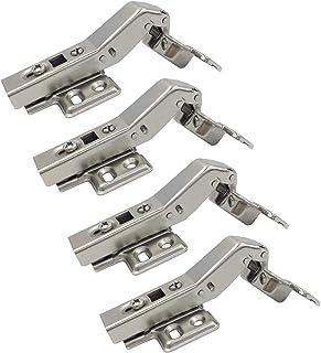 LIKERAINY 45 Grado Bisagra de Esquina 35mm con Amortiguación para Puertas Plegables Bisagras de Cierre Suave para Puertas de Empotrado Mueble Armario Juego de 4