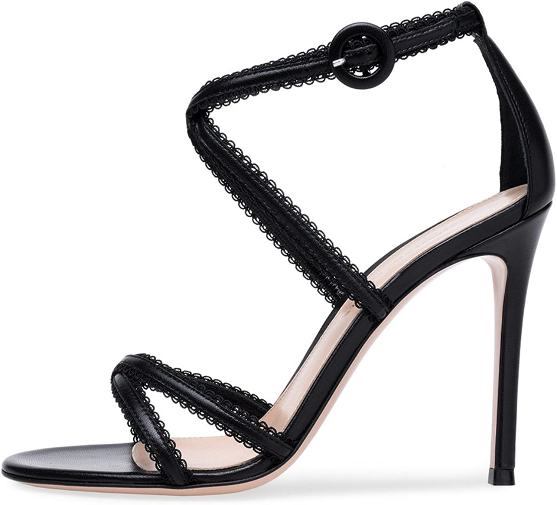 Women's Black and White Cross Belt High Heel Sandals Girls Simple Cozy Fashion High Heels
