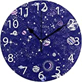 sam-shop Reloj de Pared Redondo de diseño de Cielo Nocturno Espacial, Pintura al óleo silenciosa sin tictac Decorativa para Arte de Reloj Escolar de Oficina en casa