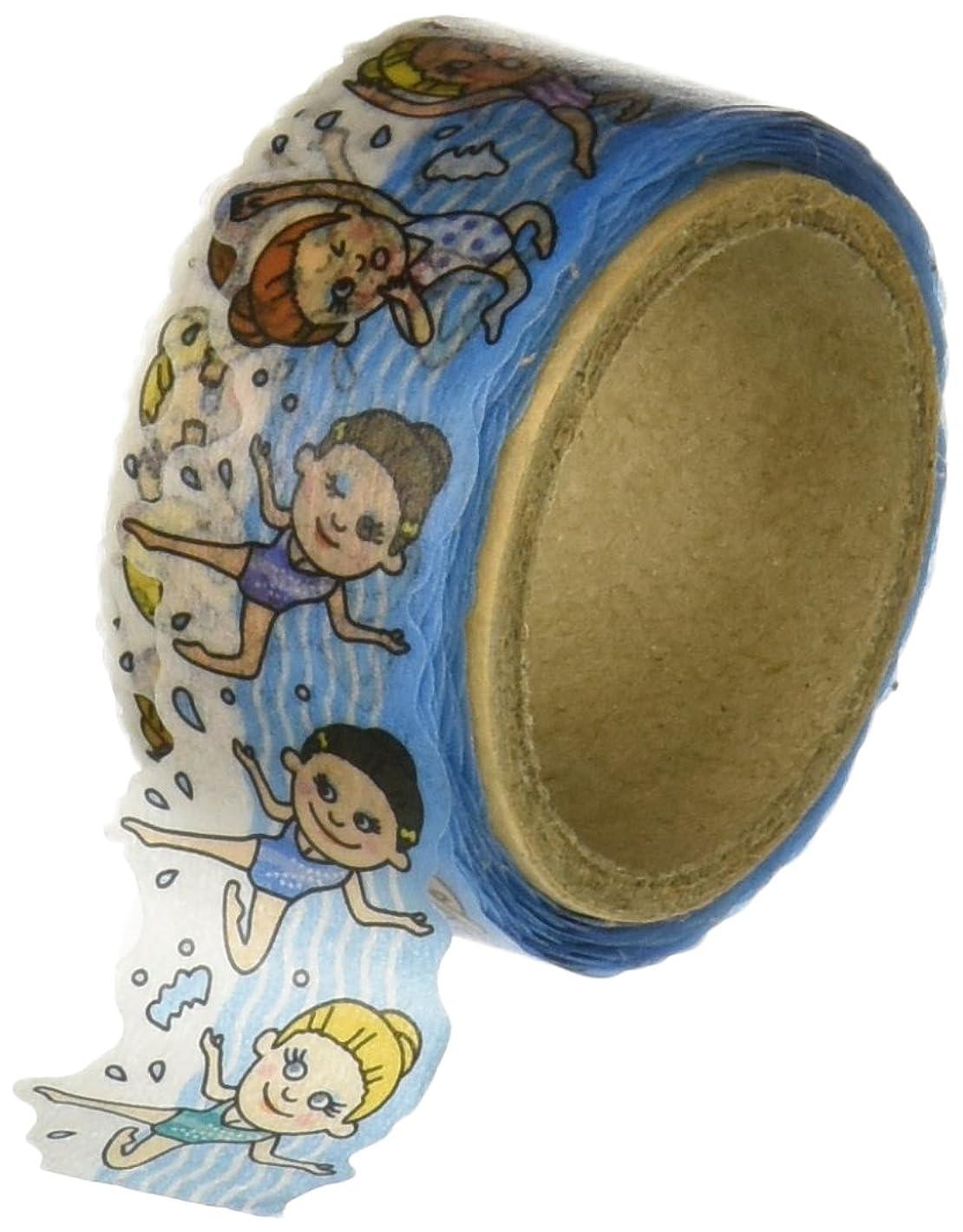 Roundtop Designer's Washi Masking Tape 20mm x 5m, Tips Character Series 4, Synchronized Swimming (RT-MK-019)