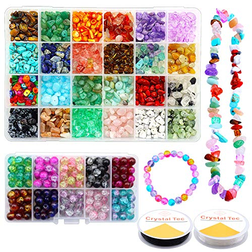 Chip Gemstone Beads 1000pcs 3-5mm,Attractive 24 Colors Gem Chips DND 10 Colors Stone Beads Set with Jewelry Wire Transparent Plastic Box,Irregular Gemstones for Jewelry Making or Crafting.