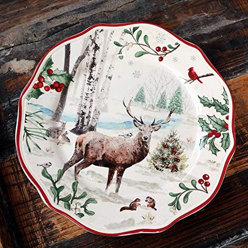 Set de cubiertos y platos,Cubiertos de hoja de palma,Vajilla Vajilla Restaurante especializado Platos de cerámica y platos planos-Gran ciervo cornudo_Convencional,Set de 5 cuencos redondos,Cubiert
