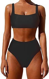 Women Push-Up Padded Bikini Set High Cut 2 PCS Print Racerback Swimwear